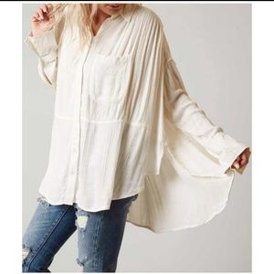 Free People Cozy Nights White Oversized Button S